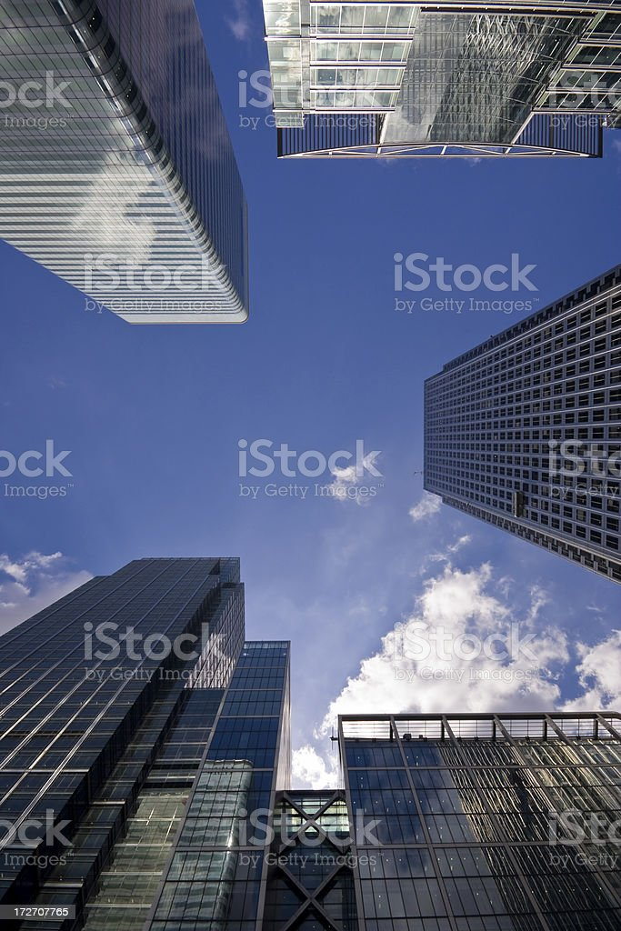 Looking up at Canary Wharf royalty-free stock photo