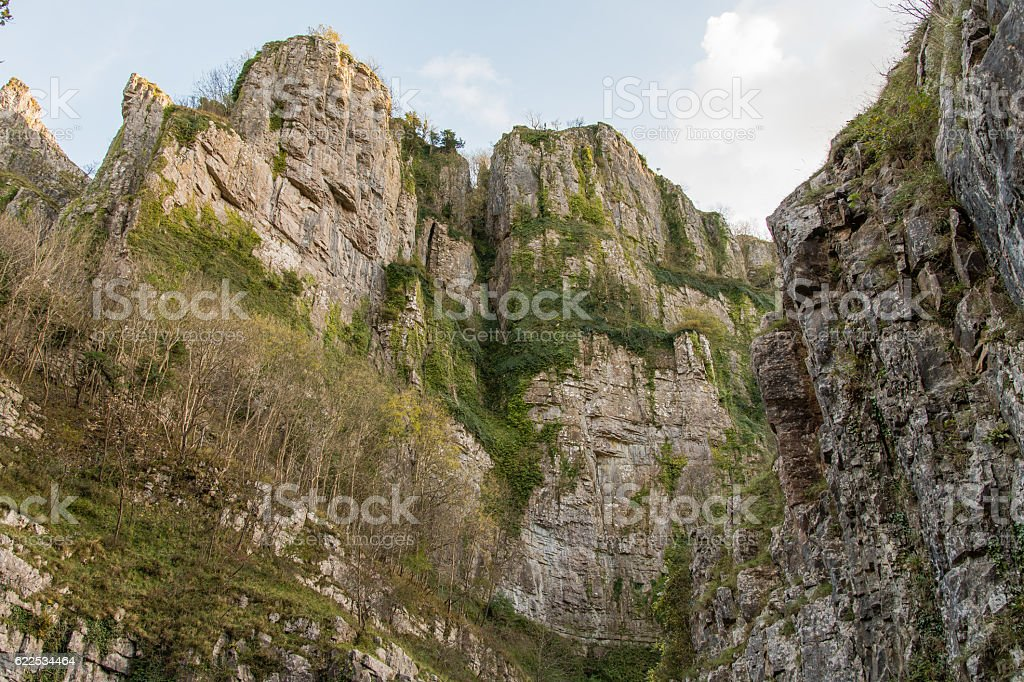 Looking up at cliffs of Cheddar Gorge stock photo
