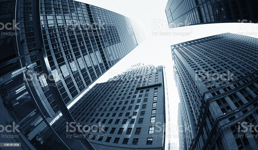 Looking up at dowtown office buildings royalty-free stock photo