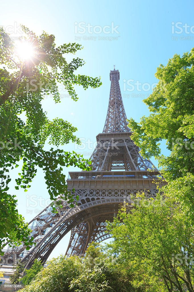 Looking up at Eiffel tower in Paris, France royalty-free stock photo