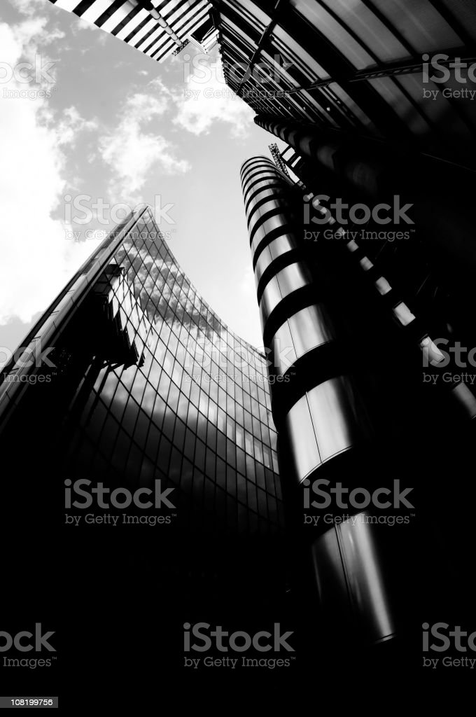 Looking Up at Glass Office Buildings. royalty-free stock photo