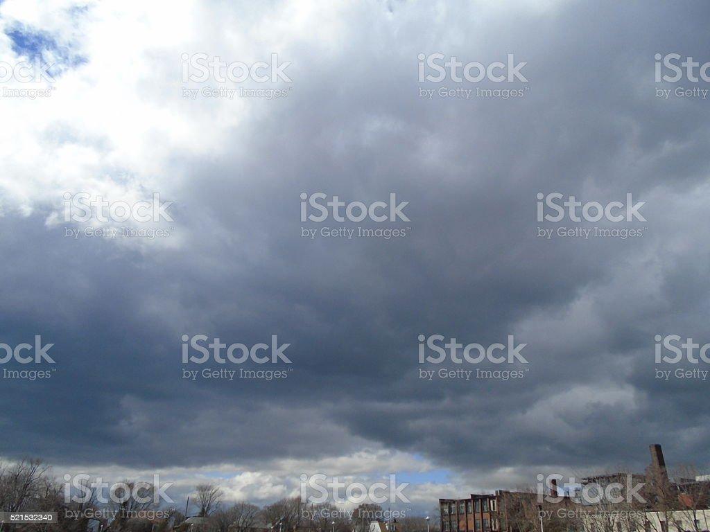 Looking Up At Grey Sky stock photo