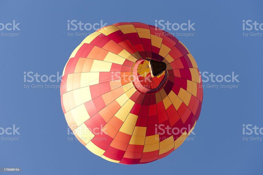 Looking up at hot air balloon royalty-free stock photo