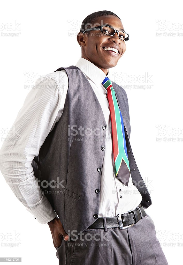 Looking up at laughing young executive in formal waistcoat royalty-free stock photo