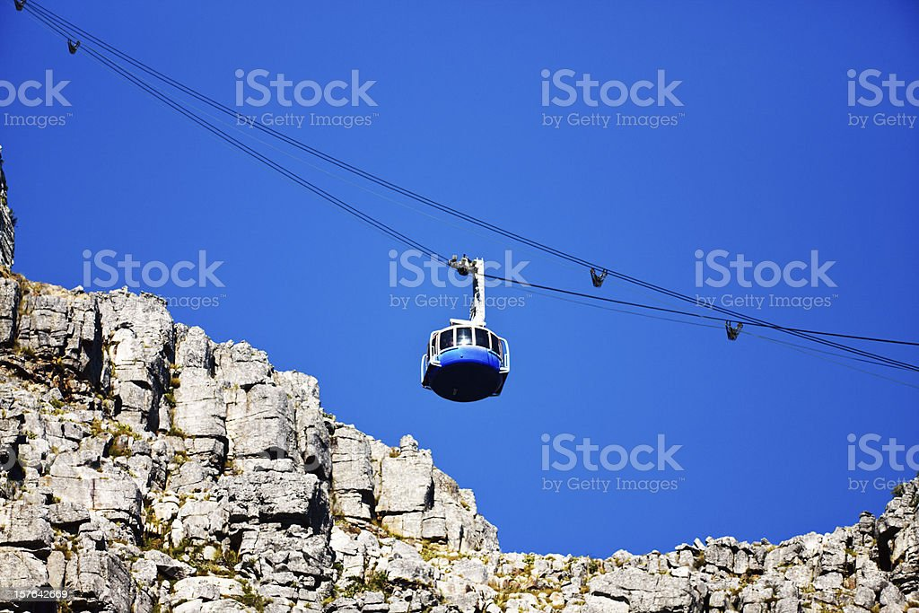 Looking up at modern cable car ascending Table Mountain royalty-free stock photo