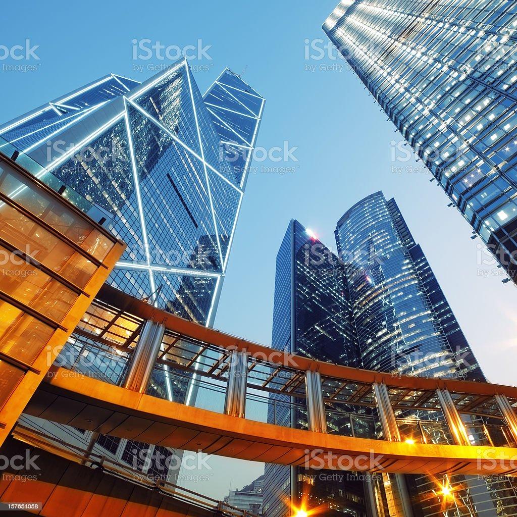 Looking up at modern sky scrapers in Hong Kong stock photo
