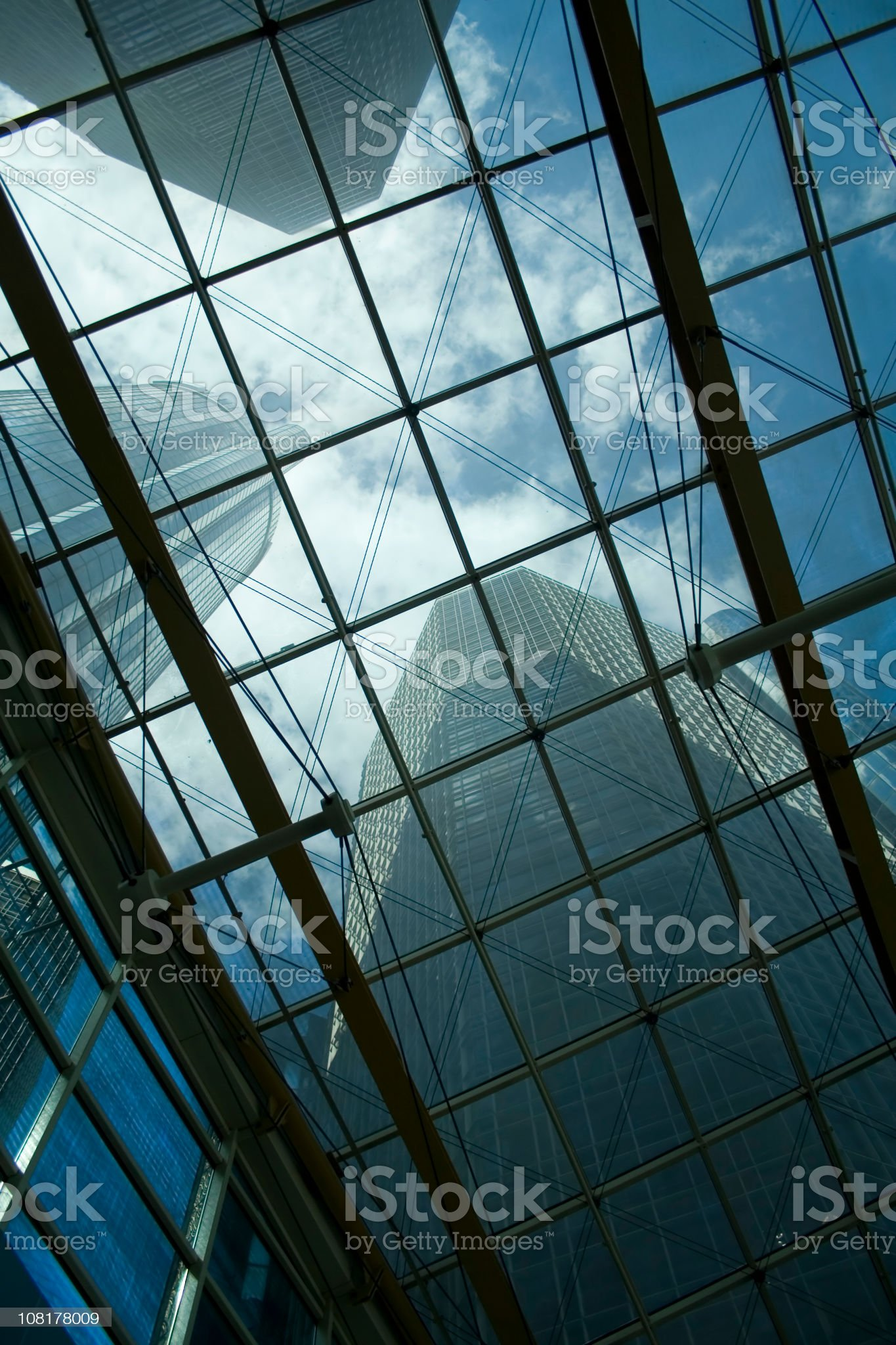 Looking Up at Office Buildings Through Window Roof royalty-free stock photo
