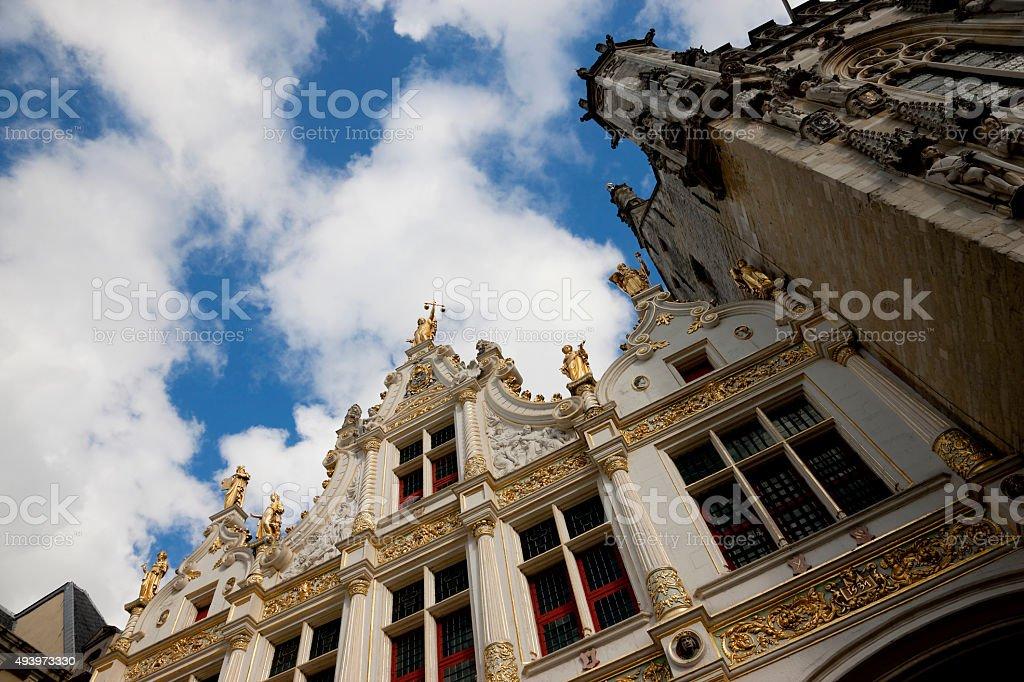 Looking up at Old Civil Registry in Bruges, Belgium stock photo