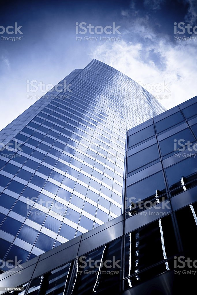 Looking up at one modern skyscraper in Chicago stock photo