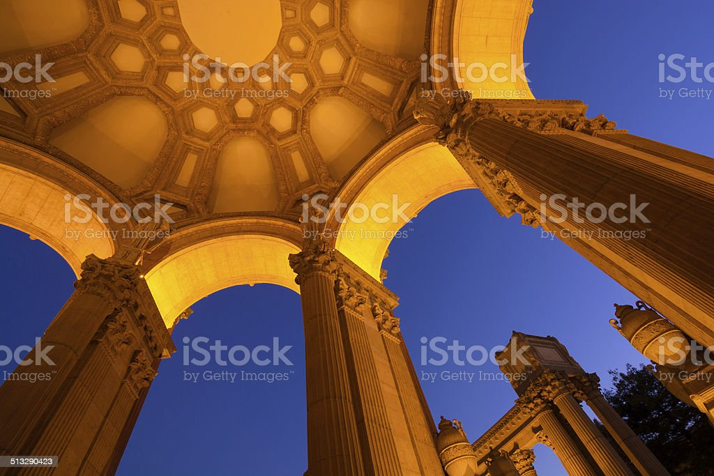 Looking up at Palace of Fine Arts in San Francisco stock photo