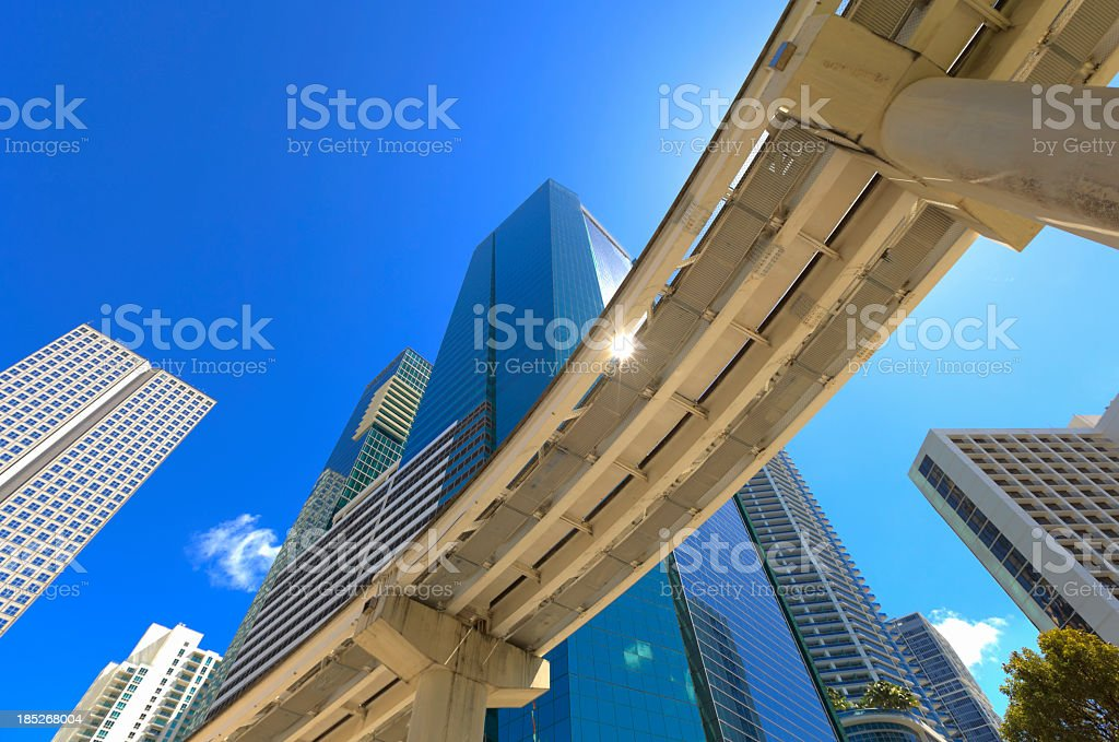 Looking up at people mover bridge in downtown Miami, Florida royalty-free stock photo