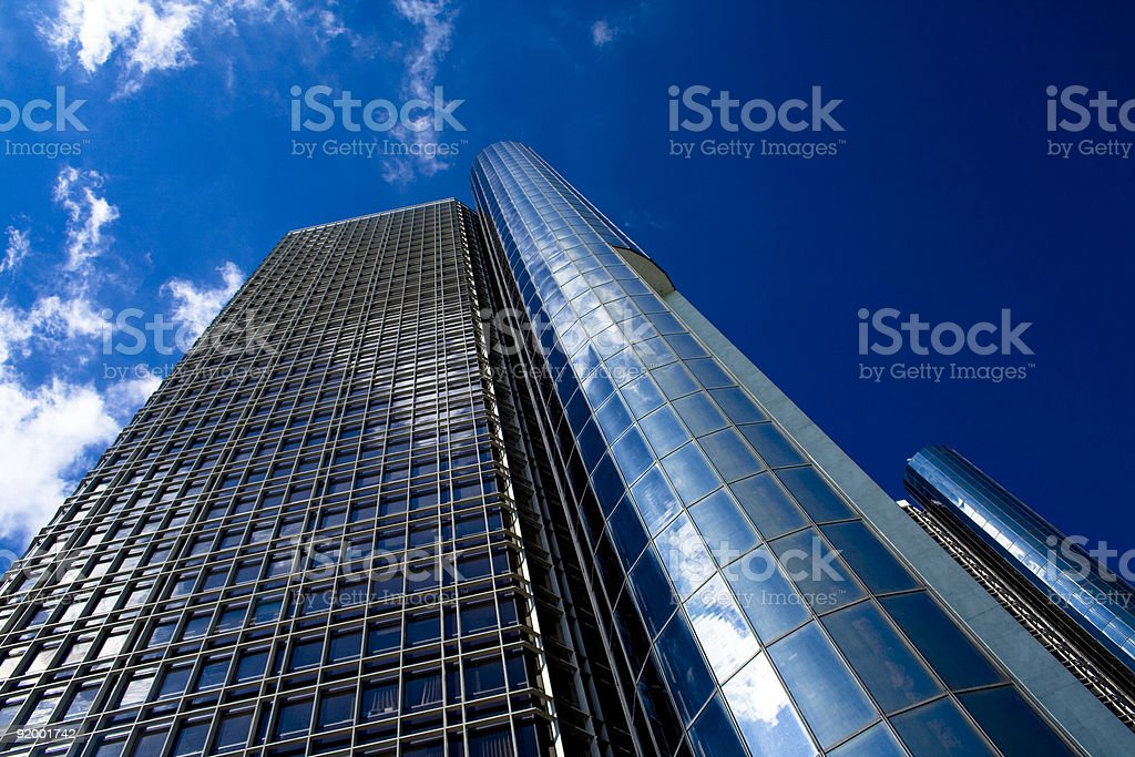 Looking up at Renaissance Center in Detroit royalty-free stock photo