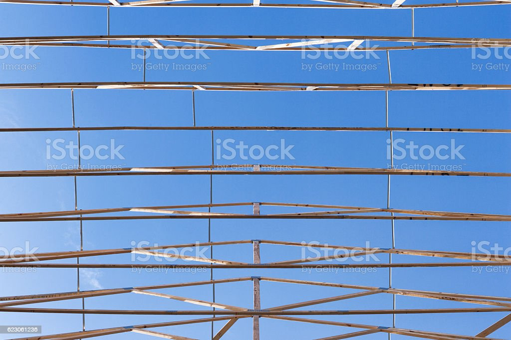Looking Up at Roof Trusses Directly Overhead stock photo