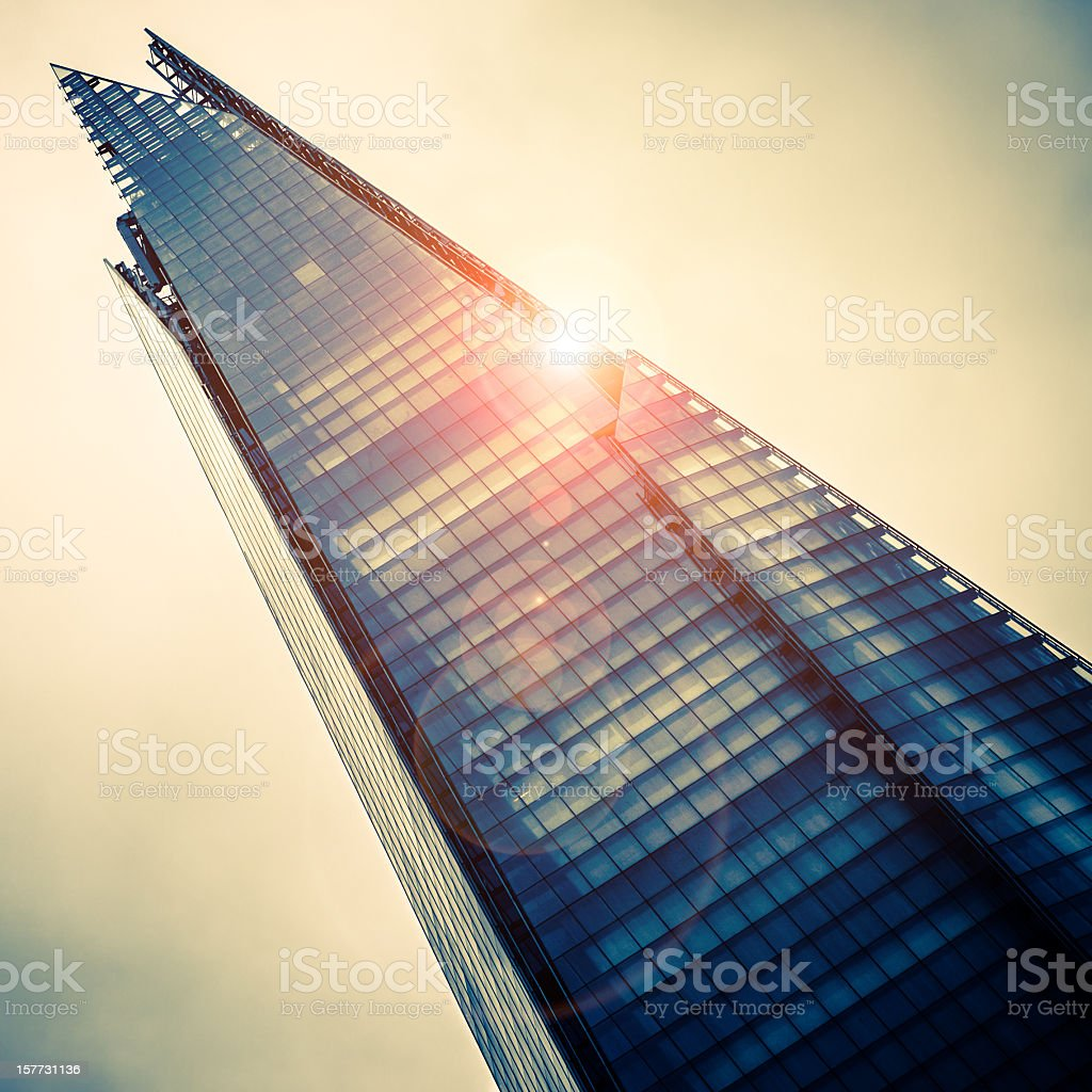 Looking up at shard skyscraper by Renzo Piano in London stock photo