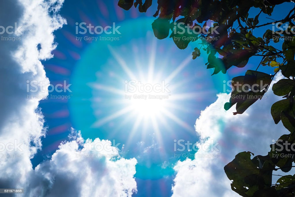 Looking up at sky with sunbeam and halo with cloud stock photo