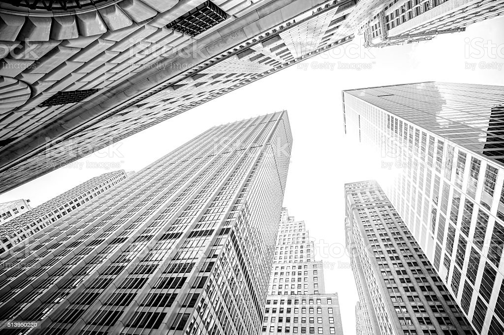 Looking up at skyscrapers in Manhattan, New York City, USA stock photo