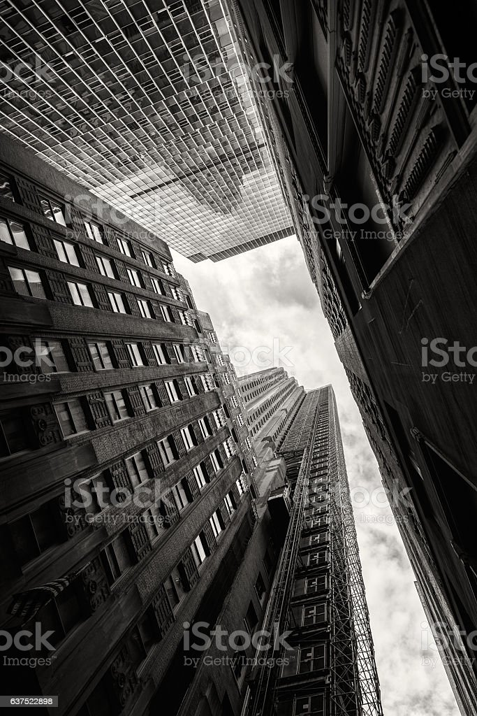 Looking up at skyscrapers in New York stock photo
