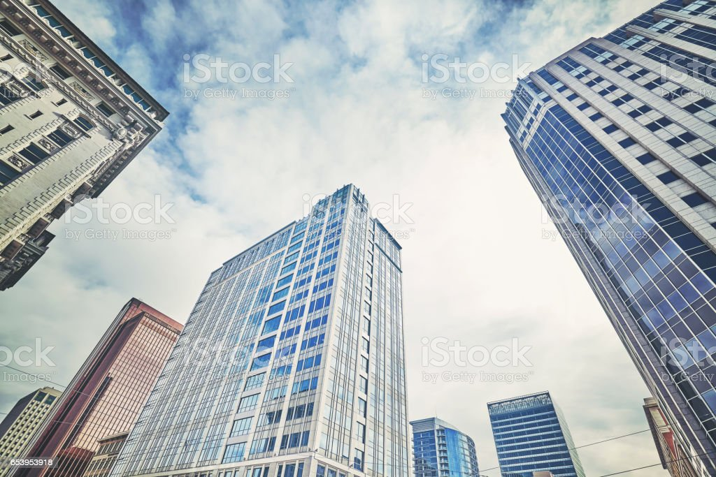 Looking up at skyscrapers in Salt lake City. stock photo