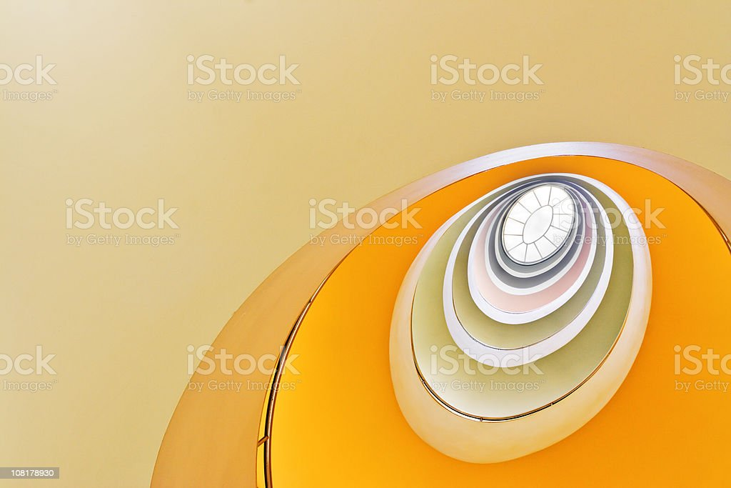 Looking up at Spiral Staircase stock photo