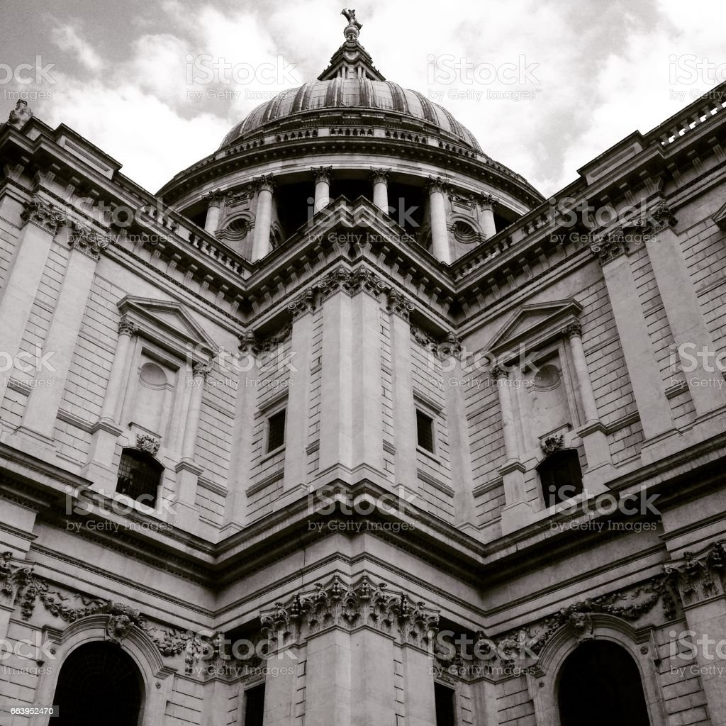 Looking up at St Paul's Cathedral in London. Black and white. Close up details of St Paul's Cathedral by Christopher Wren. stock photo
