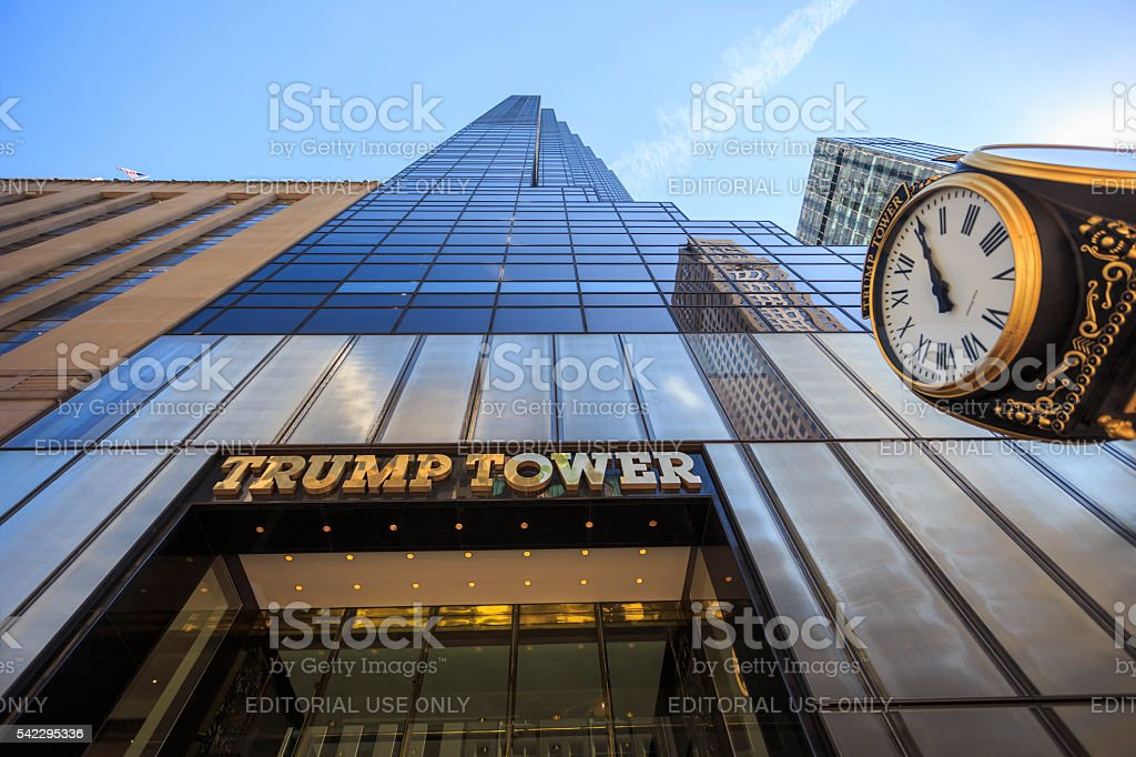Looking up at the 5th avenue Trump Tower stock photo