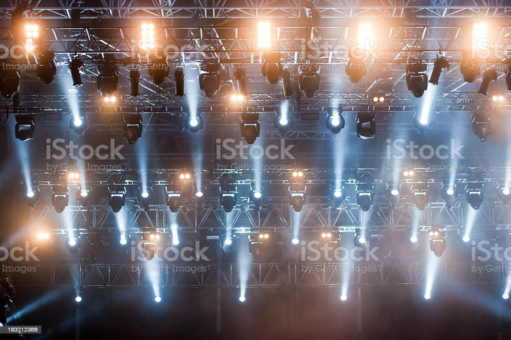 Looking up at the lighting rig over the stage stock photo