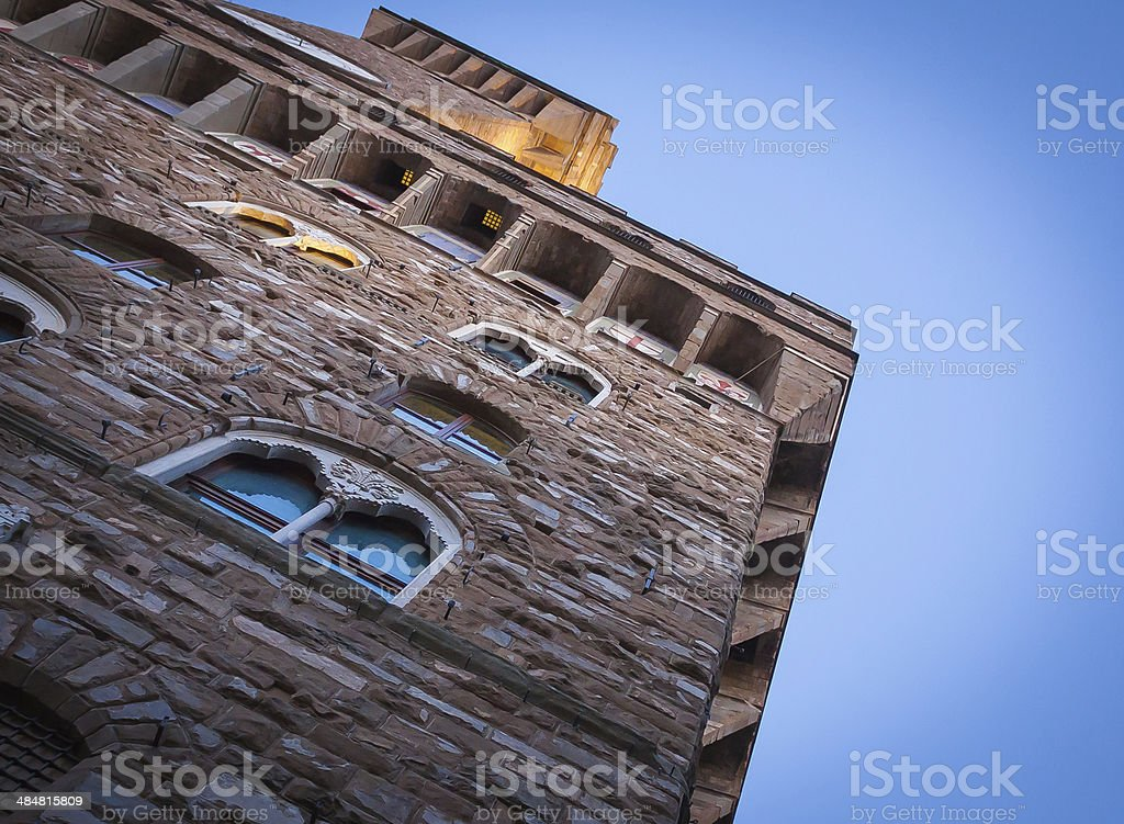 Looking up at the Palazzo Vecchio stock photo