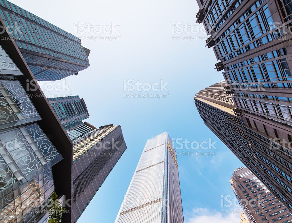Looking up at the Skyscrapers stock photo