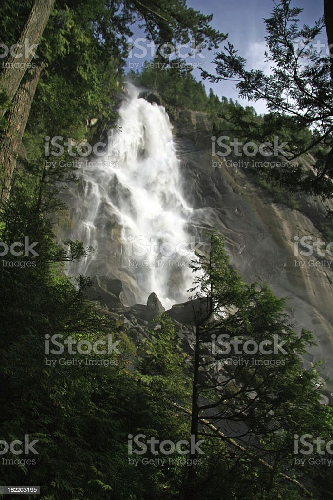 Looking up at the Waterfall royalty-free stock photo