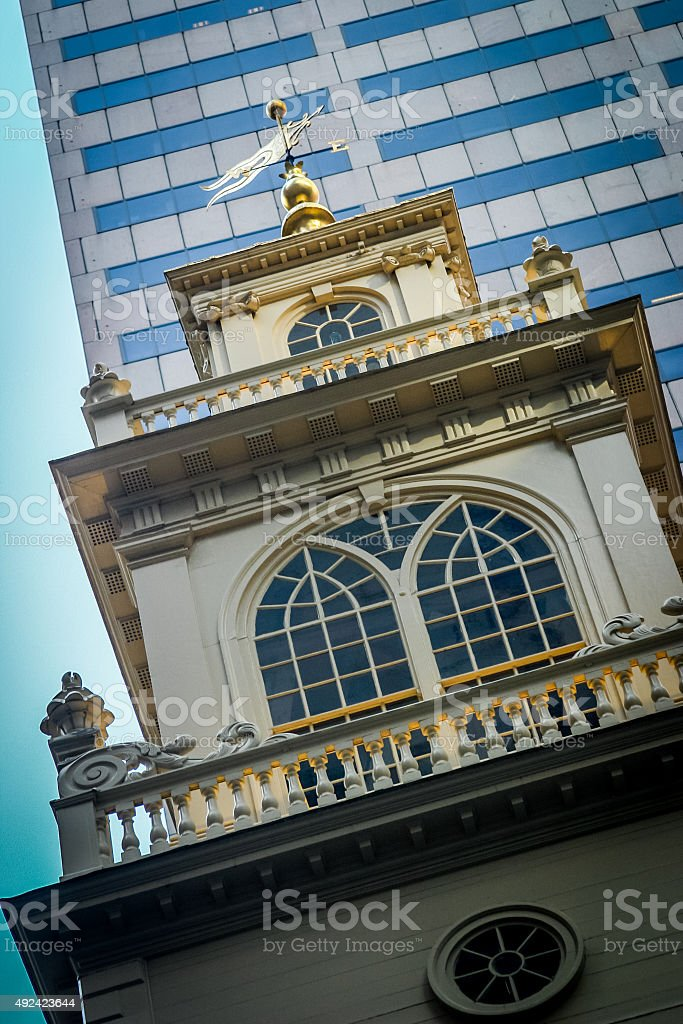 Looking Up at Top Portion of Old State House, Boston stock photo