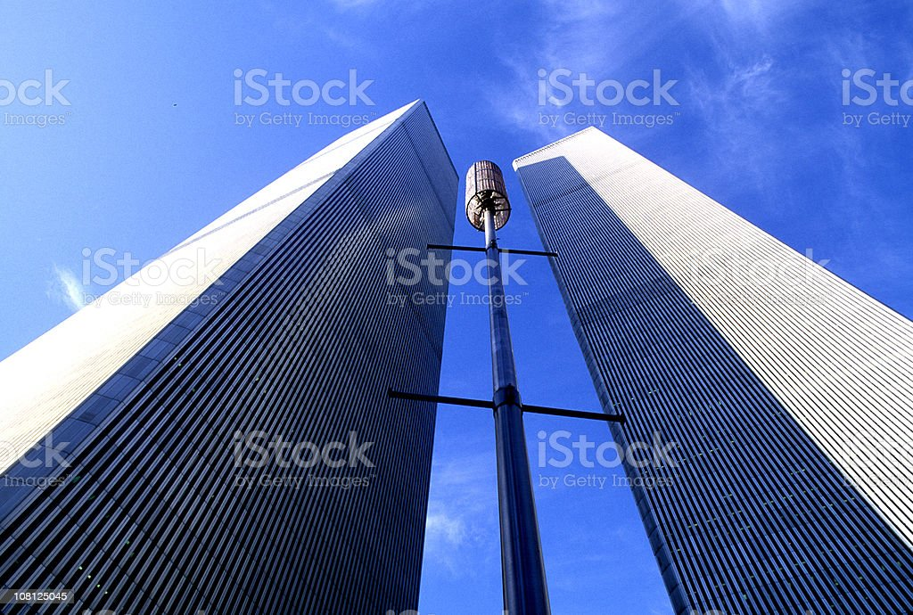 Looking Up at World Trade Center Towers from Ground royalty-free stock photo