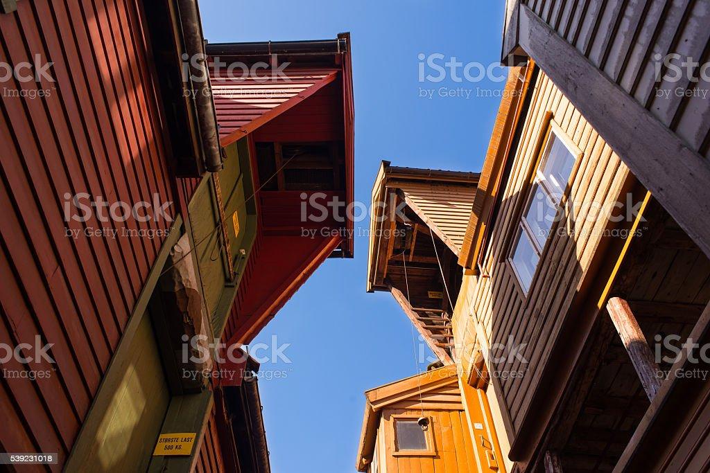 Looking up, Bryggen, Bergen Norway. stock photo