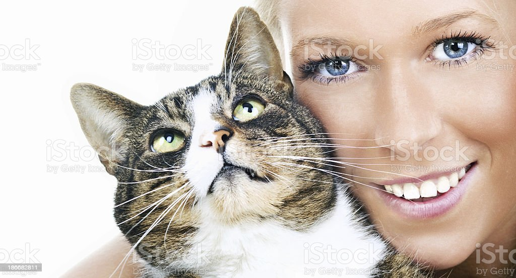 Looking up cat in female arms on white royalty-free stock photo