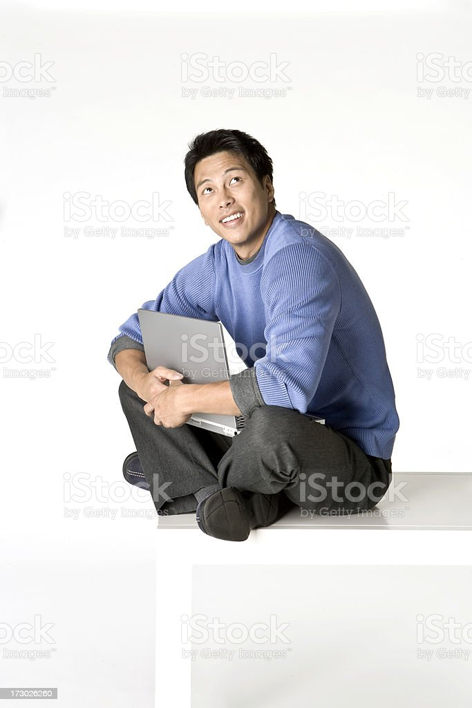 Looking up cross legged on a table royalty-free stock photo