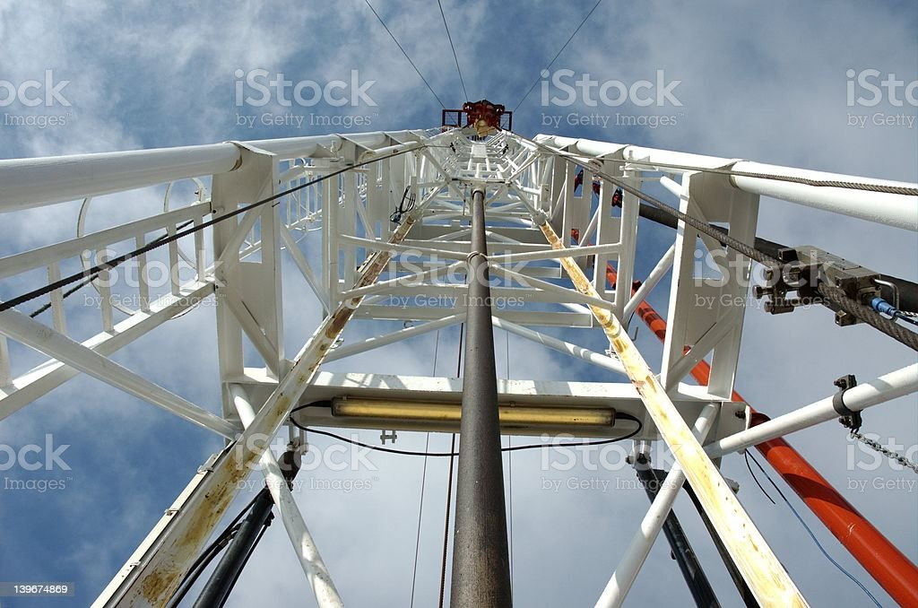Looking up derrick on a small kelly land oil rig royalty-free stock photo