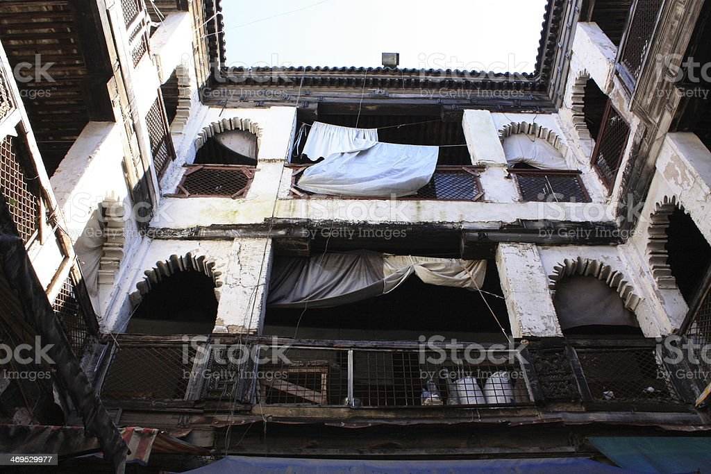Looking up - dwelling in Marakech Morocco stock photo