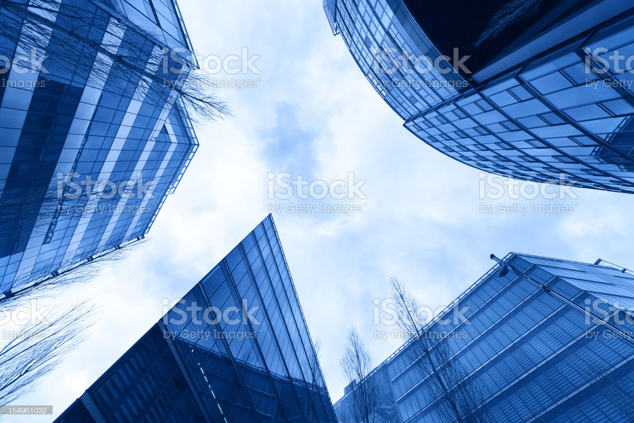 looking up into manhattan architectual glass and steel royalty-free stock photo