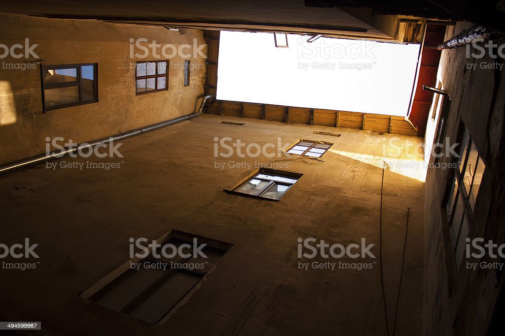 Looking up it the yard. House wall royalty-free stock photo