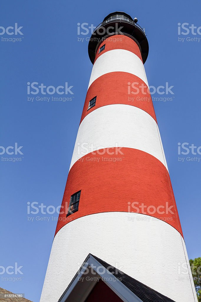 Looking Up -- Newly Painted Assateague Lighthouse stock photo
