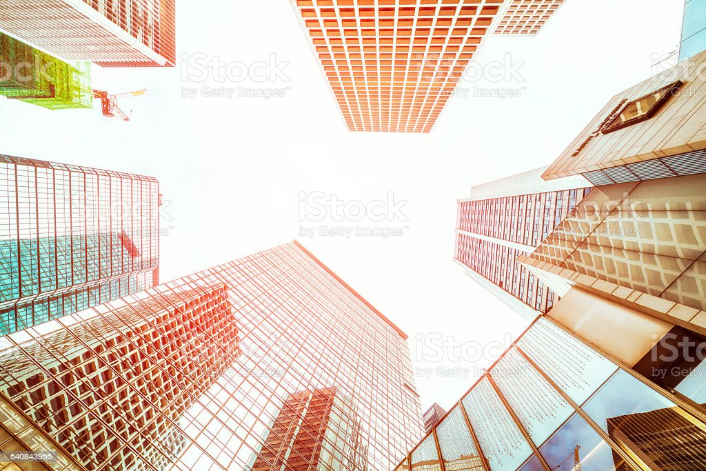 looking up of business buildings in Hong kong city stock photo