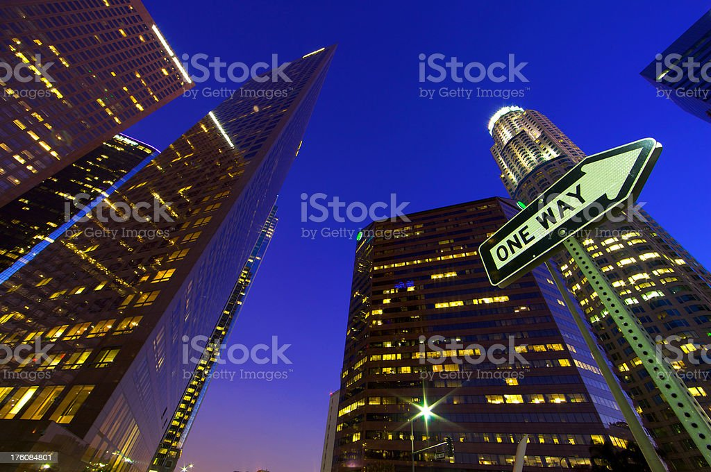 Looking up LA skyscrapers from one way street royalty-free stock photo