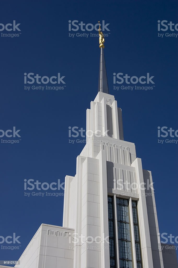 Looking up statue of Moroni at Mormon Temple royalty-free stock photo