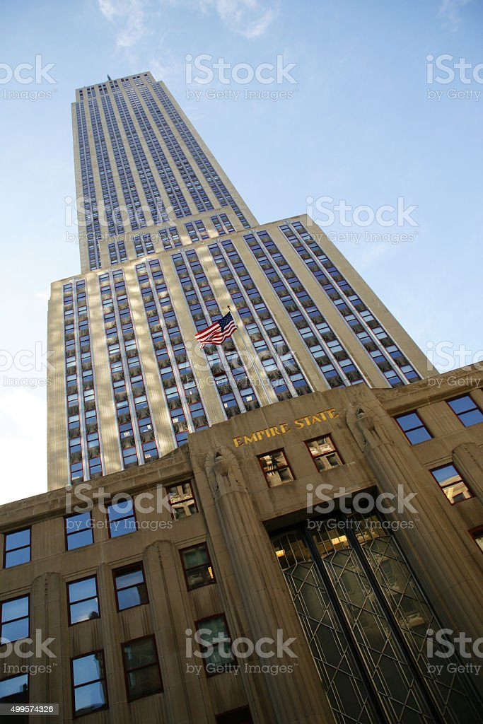 looking up the empire state stock photo