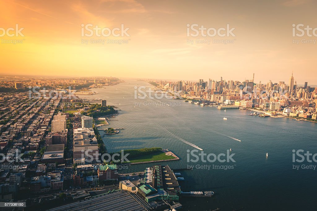 Looking up the Hudson River from a Helicopter royalty-free stock photo