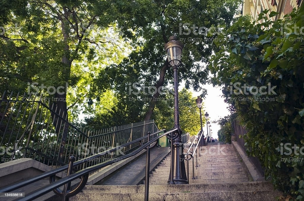 Looking up the Montmartre stairs stock photo