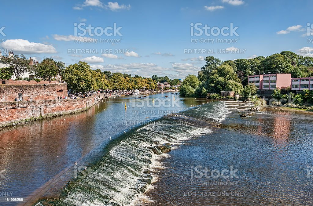 Looking up the river Dee in chester UK. stock photo
