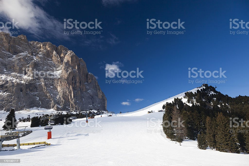 Looking up the ski slope royalty-free stock photo