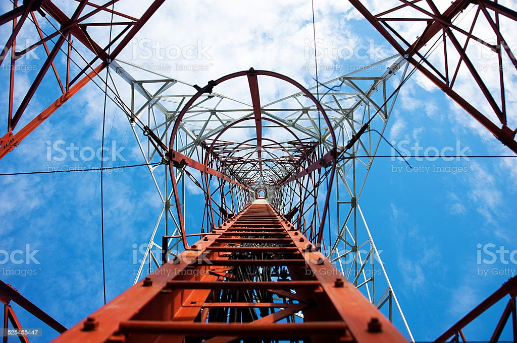 Looking up the tower stock photo