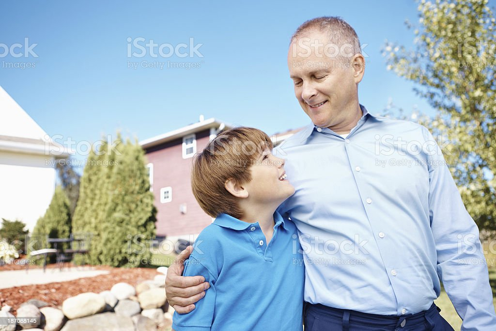 Looking up to Grandpa royalty-free stock photo