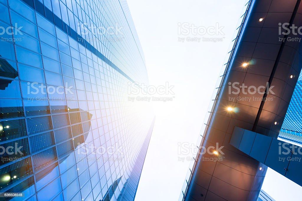 Looking up view in financial building stock photo